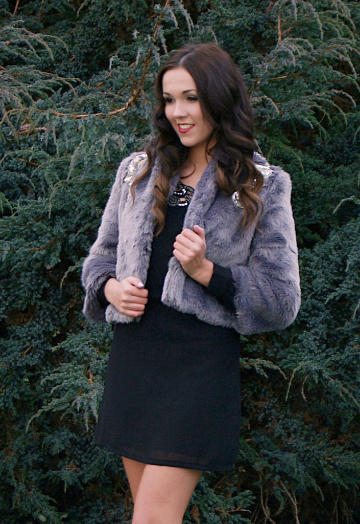 Jarlo Grey Faux Fur Jacket - Fur Jackets for Women - Glitzy Angel
