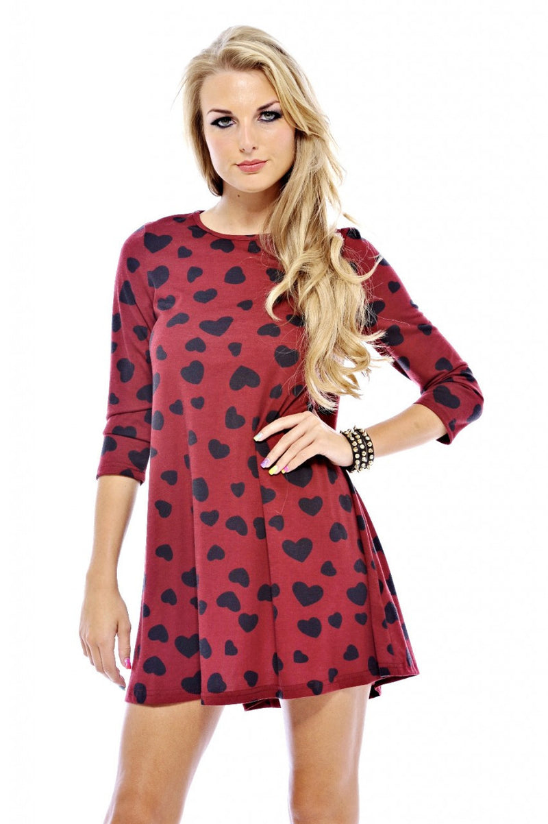 AX Paris Heart Print Swing Dress - Long Sleeved Dresses - Glitzy Angel