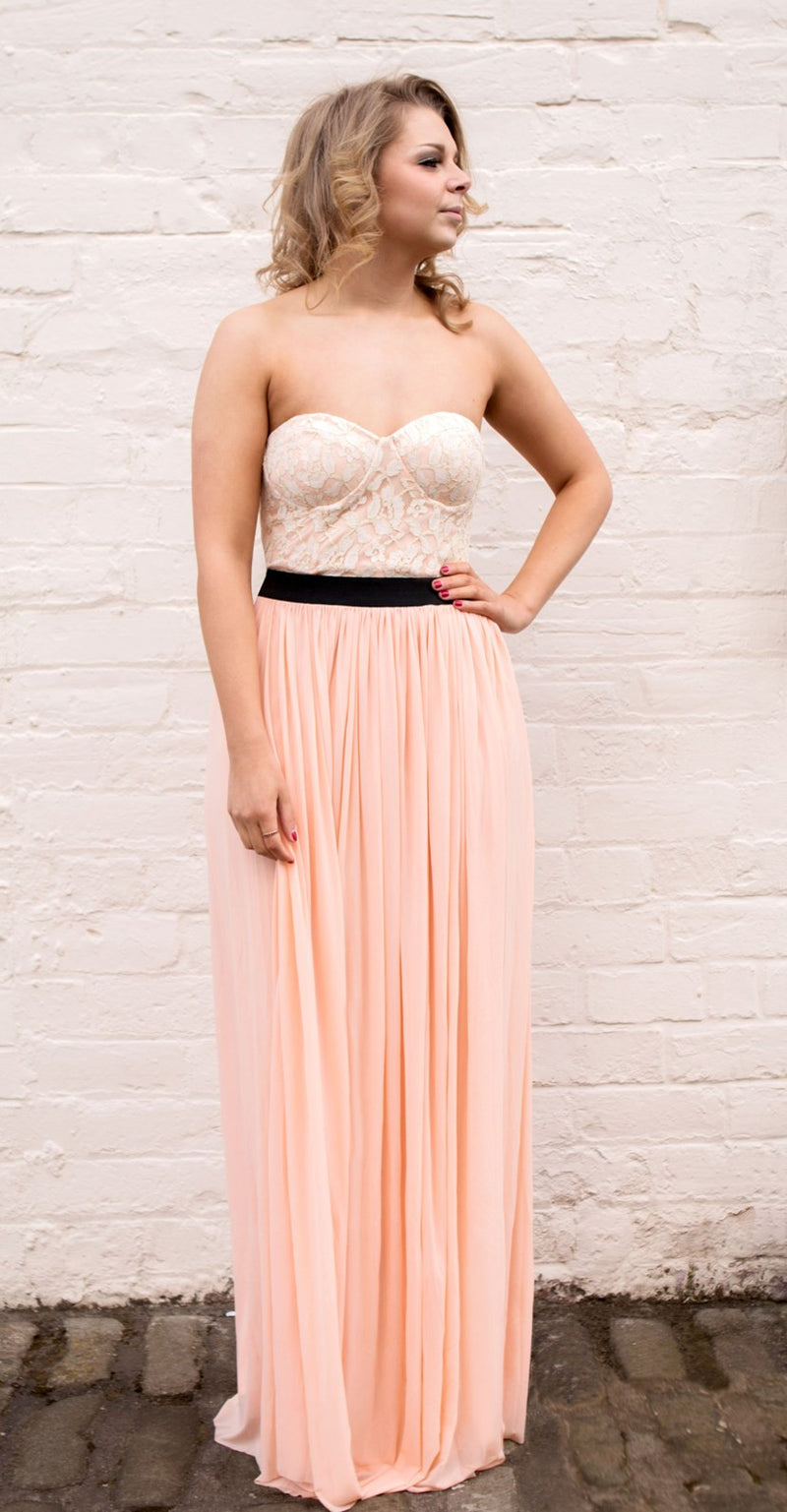 Rare Cream And Peach Bustier Maxi Dress - Glitzy Angel