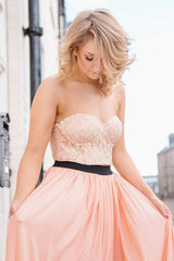 Rare Cream And Peach Bustier Maxi Dress