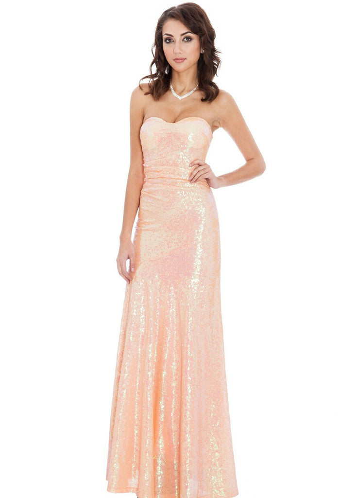 Goddiva Peach Sequin Prom Maxi Dress - Glitzy Angel