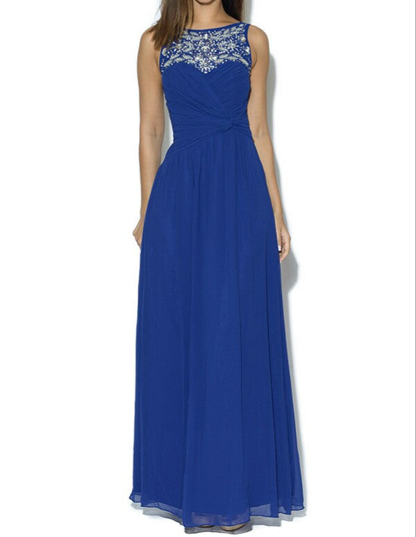 Little Mistress Cobalt Embellished Jewelled Neck Maxi Dress - Glitzy Angel