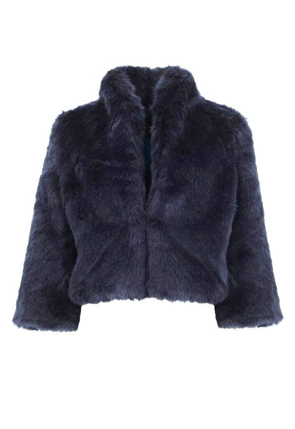 Jarlo Navy Faux Fur Jacket - Glitzy Angel