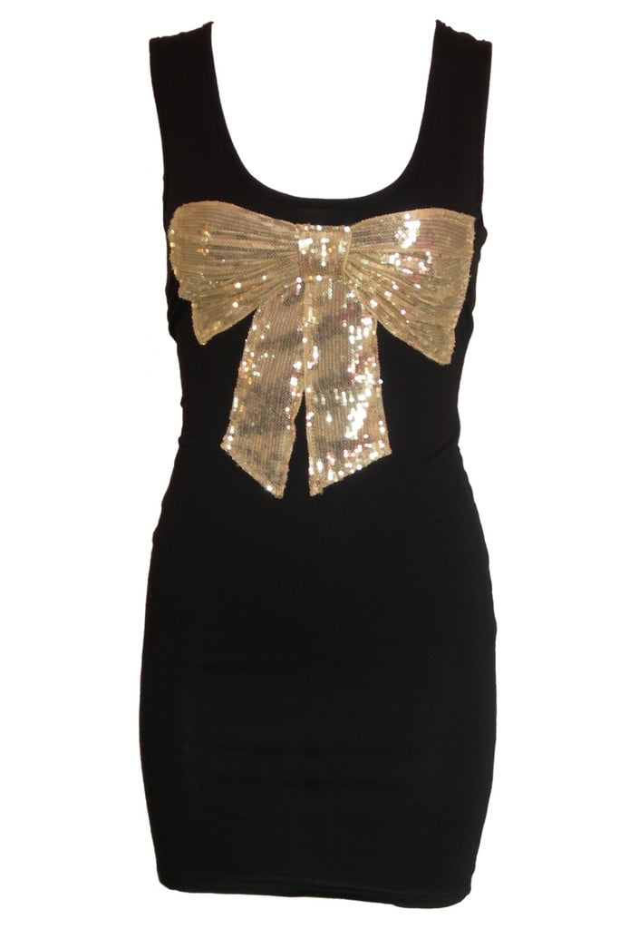 John Zack Sequin Bow Vest Dress - Glitzy Angel