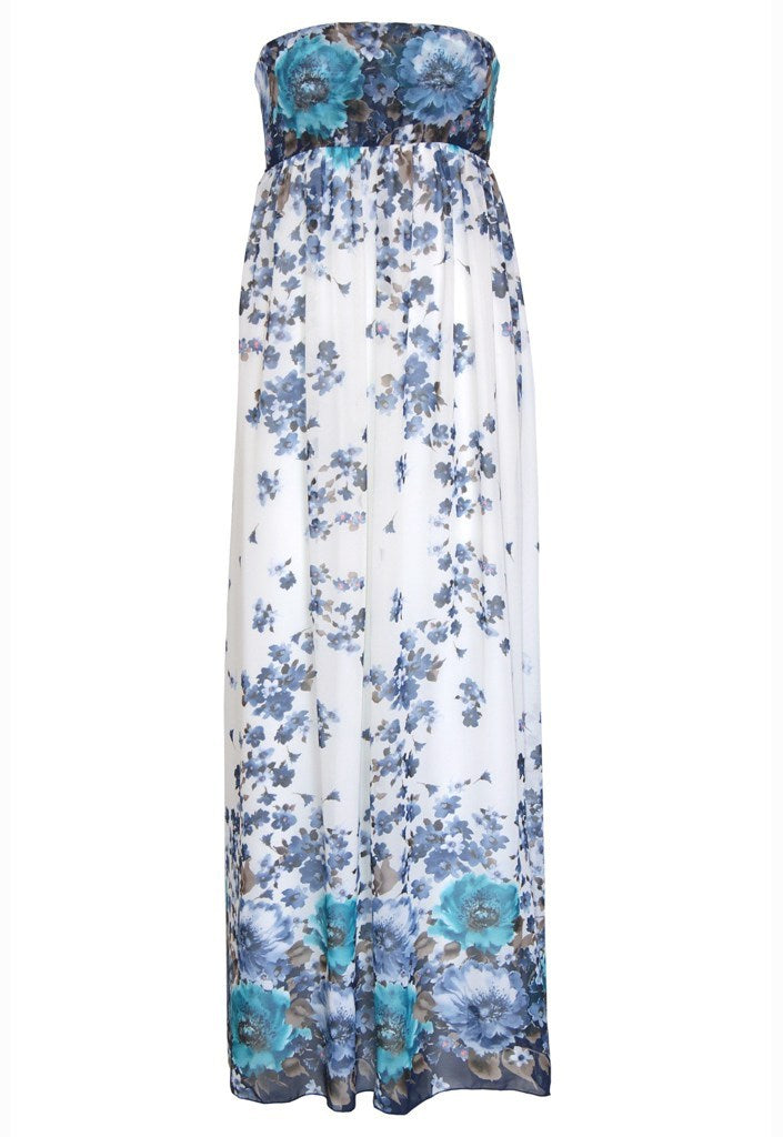 John Zack Summer Wedding Maxi Dress - Blue - Glitzy Angel