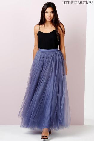 Little Mistress Lavender Grey Tulle Maxi Skirt - Glitzy Angel