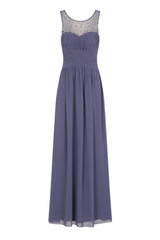 Little Mistress Lavender Grey Embellished Maxi Dress