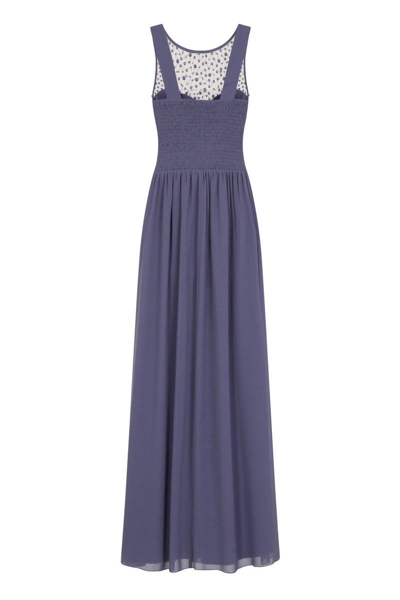 Little Mistress Lavender Grey Embellished Maxi Dress - Glitzy Angel