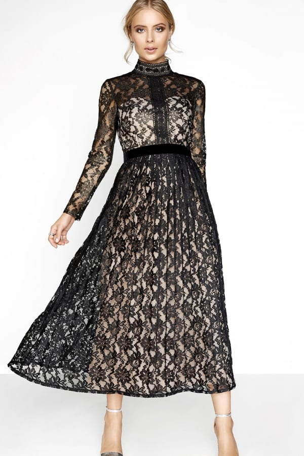 ed21965ffbc Little Mistress Black Foil Lace Maxi Dress - Evening Gowns – Glitzy ...