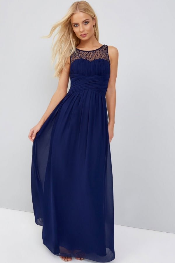 Little Mistress Navy Embellished Maxi Dress - Bridesmaids Dresses