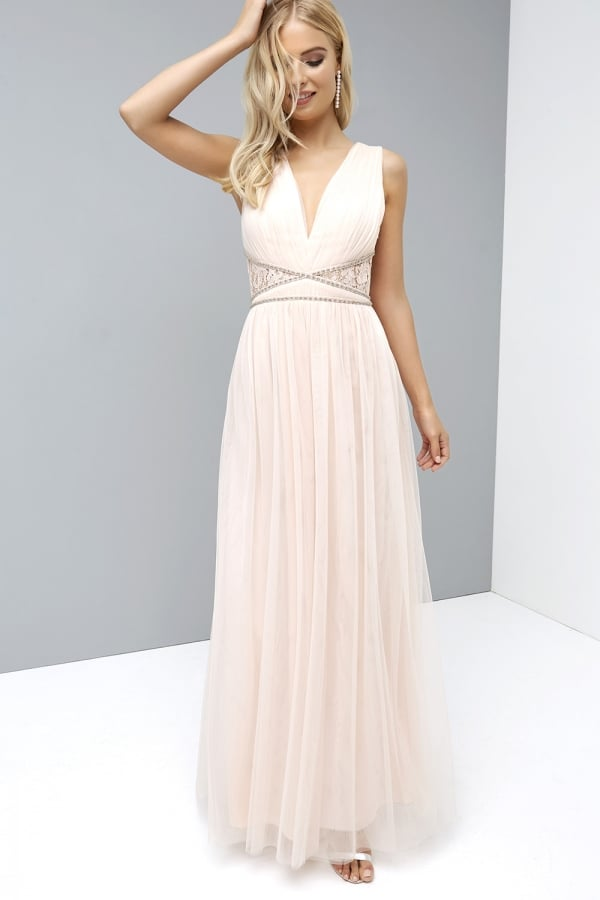 LITTLE MISTRESS NUDE LACE BACK MAXI