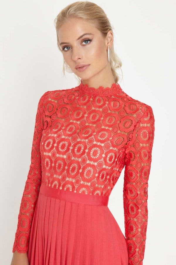 Red Crochet Lace Midi Dress with Pleats