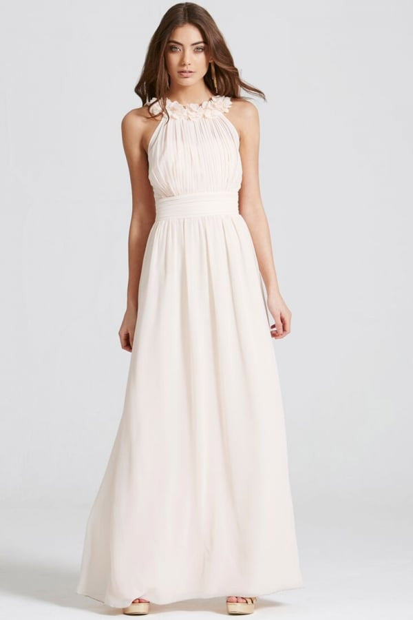 Little Mistress Nude Corsage Gathered Waist Maxi Dress - Bridesmaids Dresses