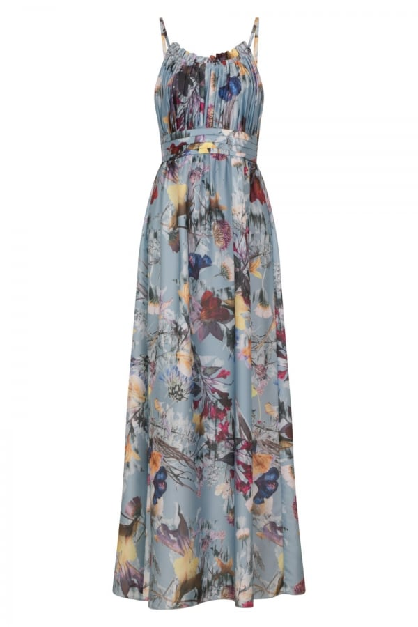 LITTLE MISTRESS FLORAL SATIN MAXI DRESS