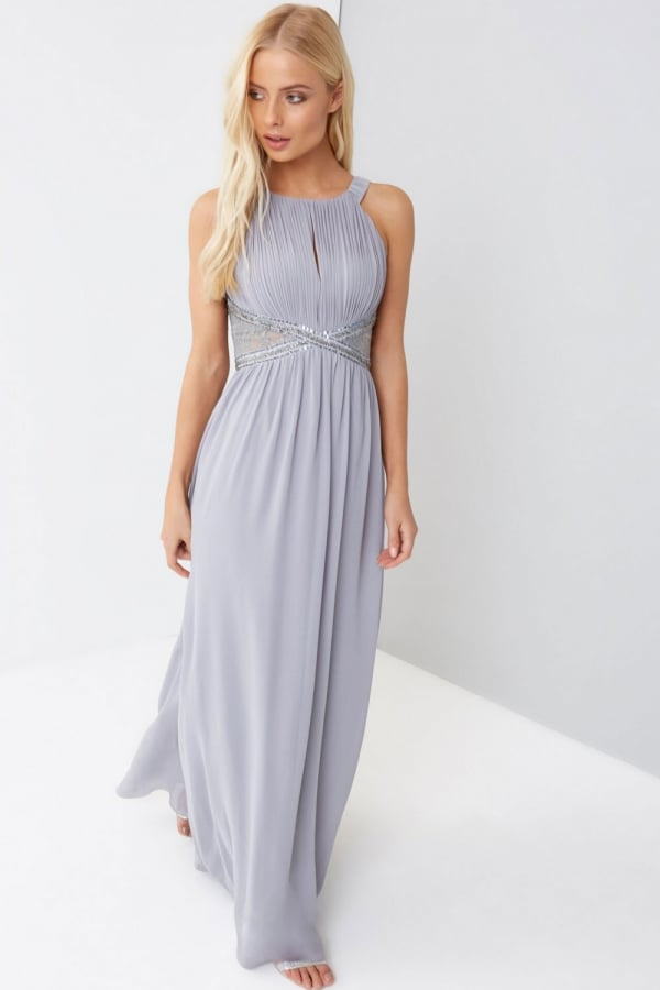 LITTLE MISTRESS GREY EMBELLISHED PANEL MAXI