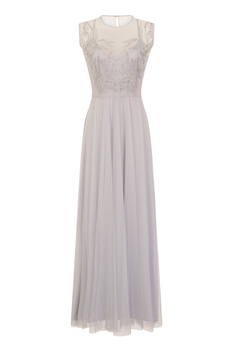 Little Mistress Grey Embroidered Maxi