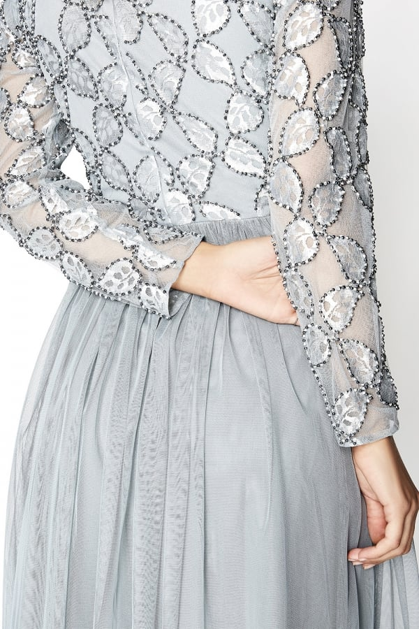 LITTLE MISTRESS GREY EMBROIDERED MIDI