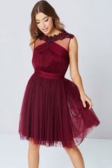 Little Mistress Maroon Lace and Mesh prom Dress