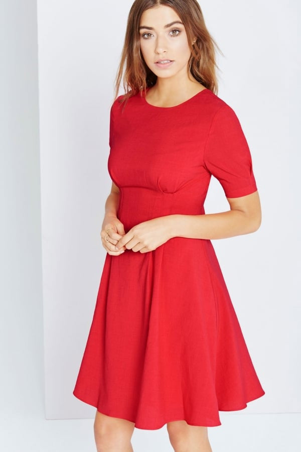 Little Mistress Red Fit & Flare Midi Dress - Glitzy Angel