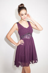 Little Mistress Embellished Chiffon Overlay Dress
