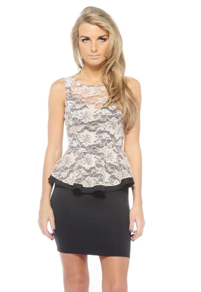 AX Paris Lace Peplum Bodycon Dress - Party Dresses - Glitzy Angel