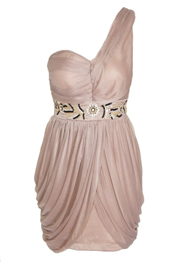 Lipstick One Shoulder Chiffon Jewelled Dress - Glitzy Angel