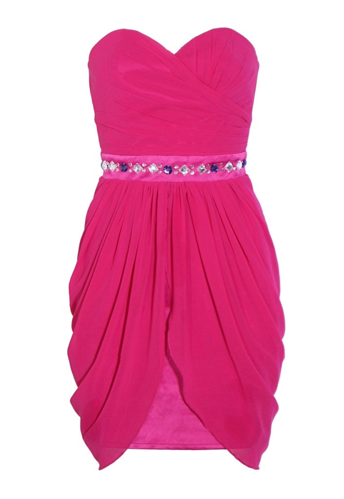 Lipsy Bandeau Drape Hem Dress - Glitzy Angel