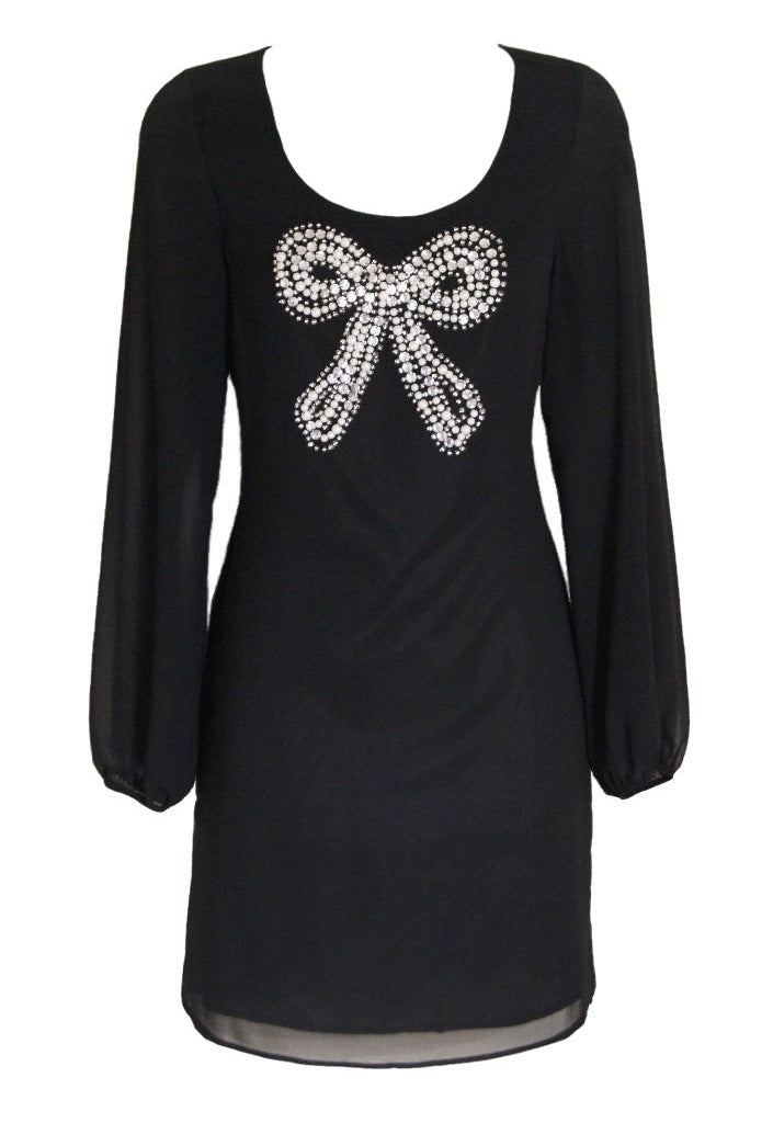 Lipsy Beaded Bow Shift Dress - Glitzy Angel