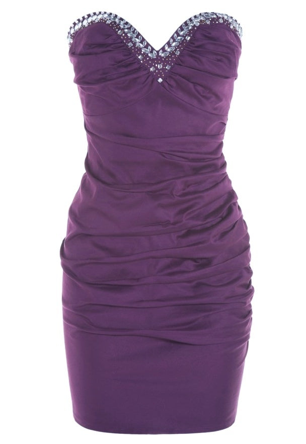 Lipsy Beaded Ruched Bandeau Dress - Party Dresses - Glitzy Angel