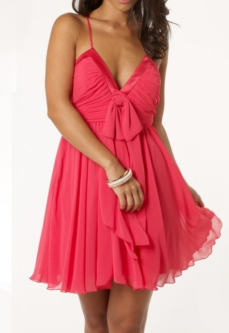 Lipsy Bow Front Babydoll Dress - Party Dresses - Glitzy Angel