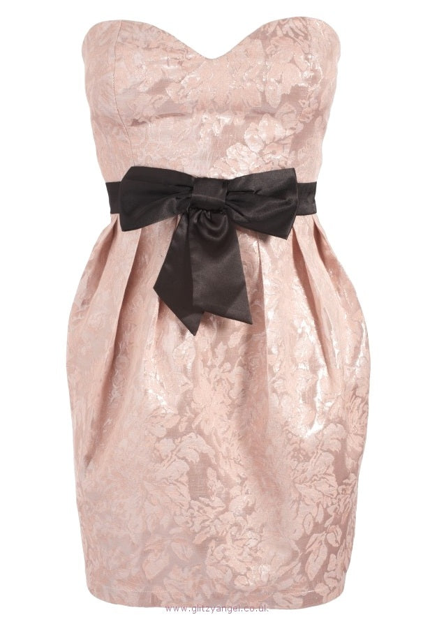 Lipsy Bow Front Bandeau Dress - Glitzy Angel