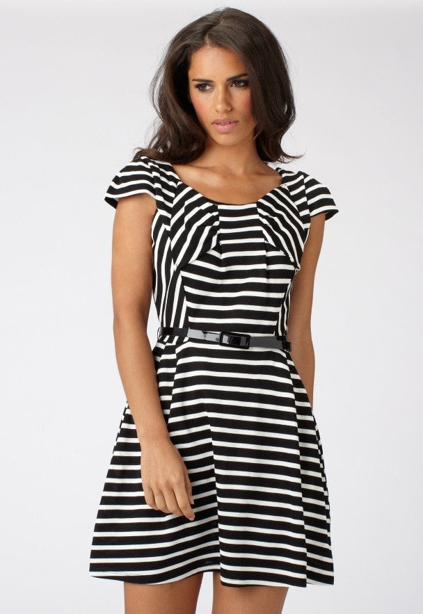 Lipsy Bow Front Stripe Dress - Glitzy Angel