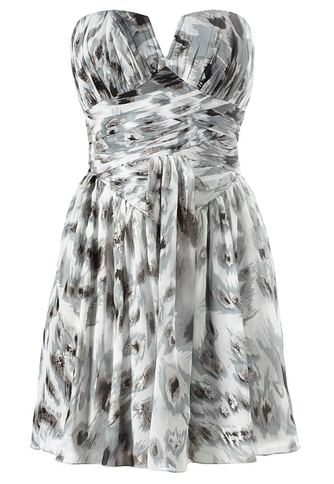 Lipsy Pleated Corset Chiffon Dress Feline Print - Glitzy Angel