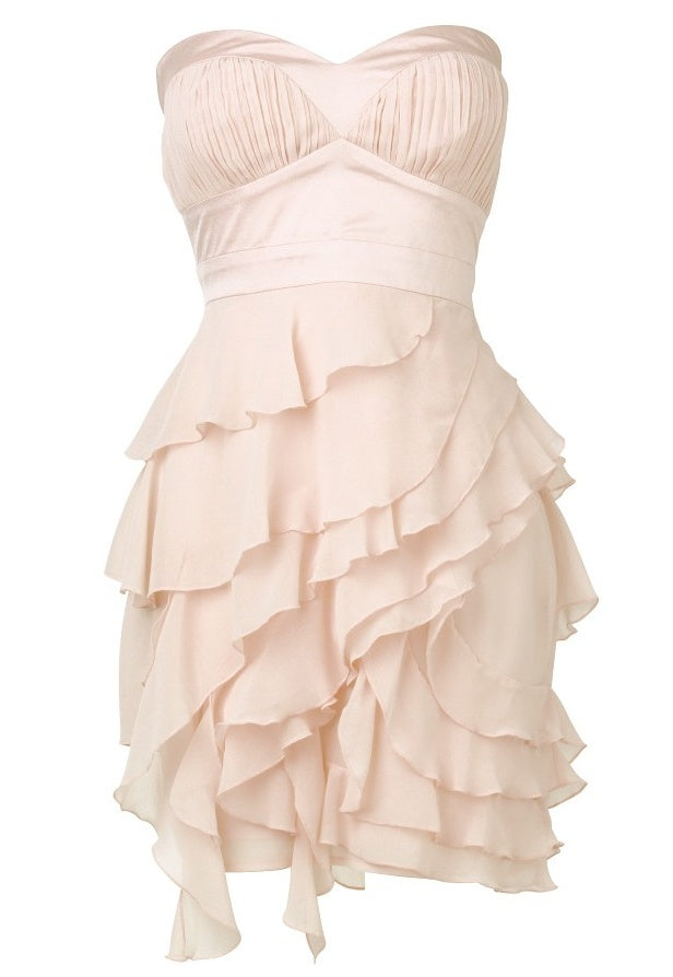 Lipsy Chiffon Tiered Bandeau Dress - Party Dresses - Glitzy Angel