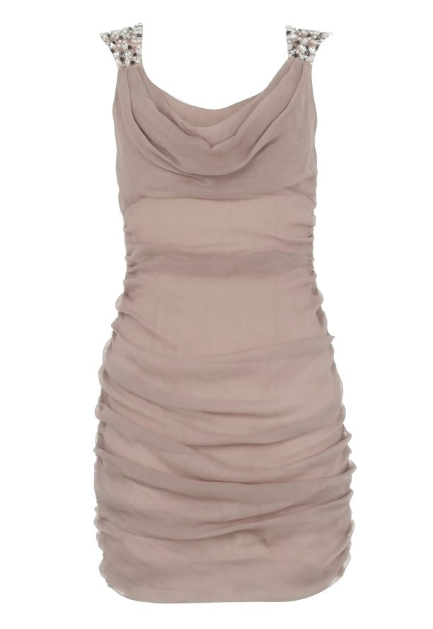 Lipsy Cowl Neck Embellished Shoulder Dress - Glitzy Angel