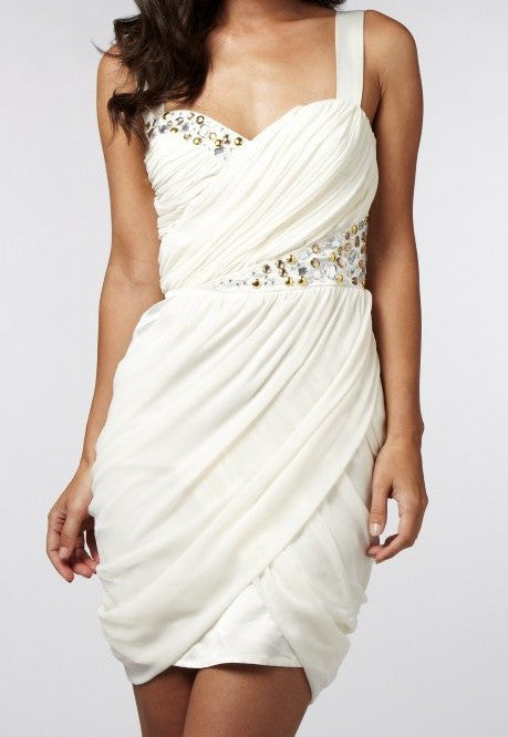 Lipsy Drape Dress With Jewel Detail - Glitzy Angel