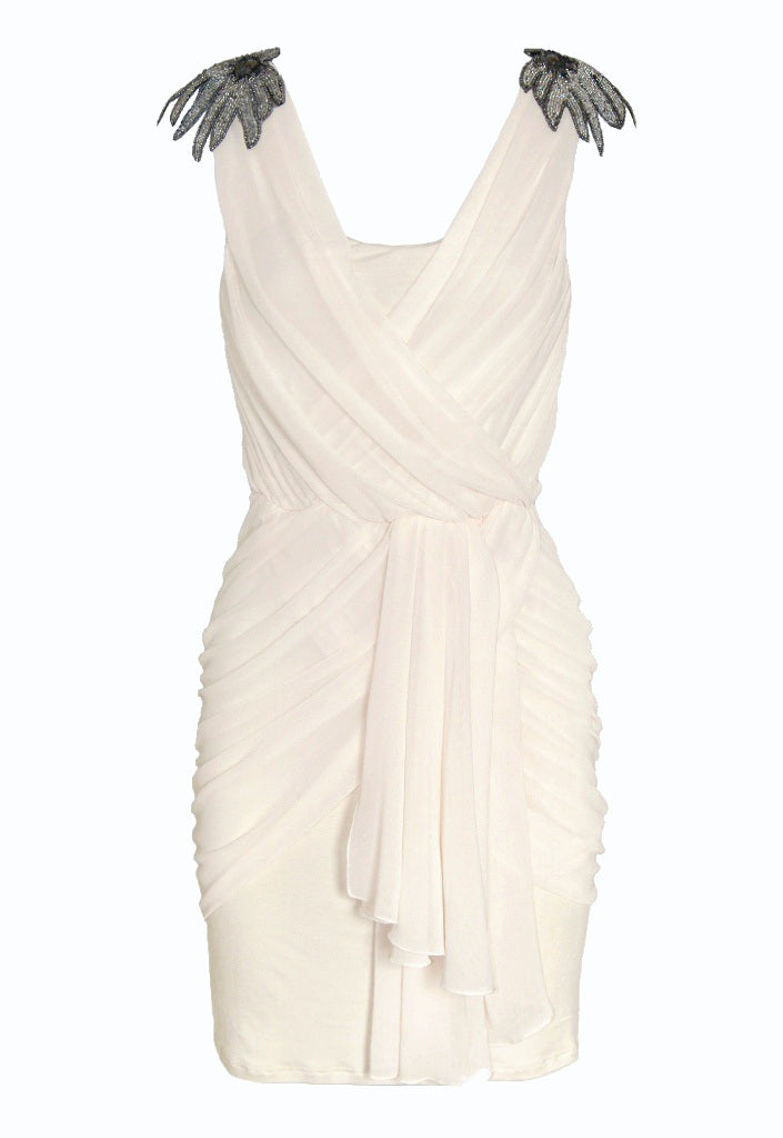 Lipsy Embellished Shoulder Drape Dress - Party Dresses - Glitzy Angel