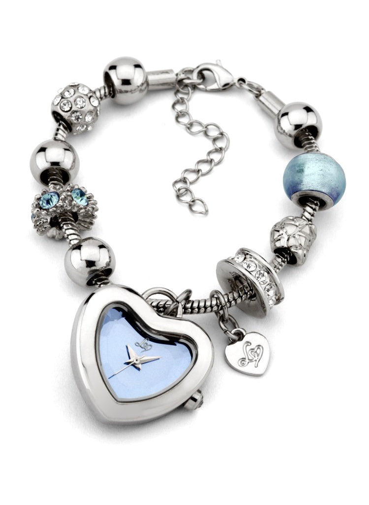 Lipsy Heart Charm Bracelet Watch - Blue - Glitzy Angel