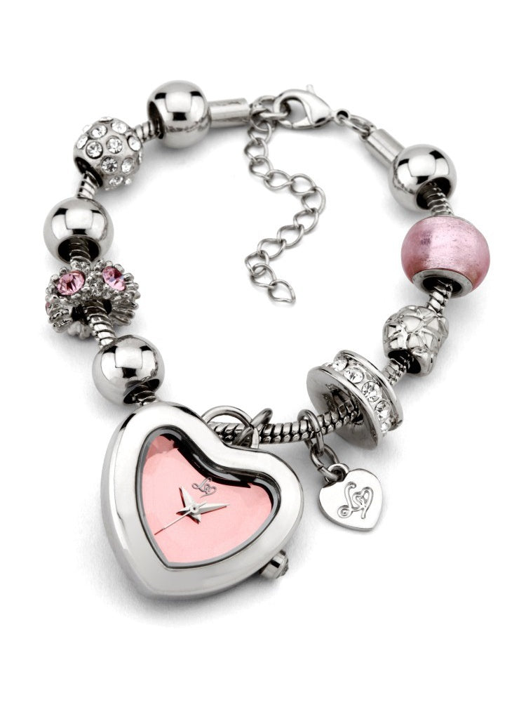 Lipsy Heart Charm Bracelet Watch - Pink - Glitzy Angel