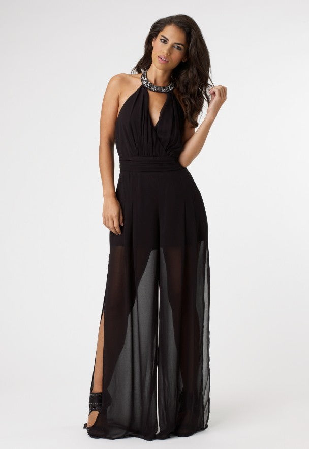 Lipsy Jewel Halterneck Jumpsuit - Glitzy Angel