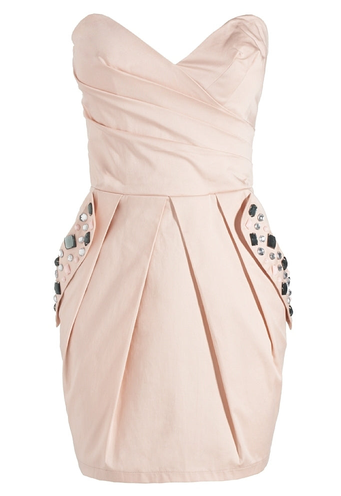 Lipsy Strapless Jewelled Pocket Dress - Glitzy Angel
