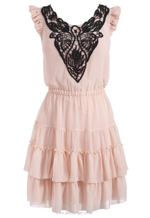 Lipsy Lace Embroidered Detail Dress - Glitzy Angel