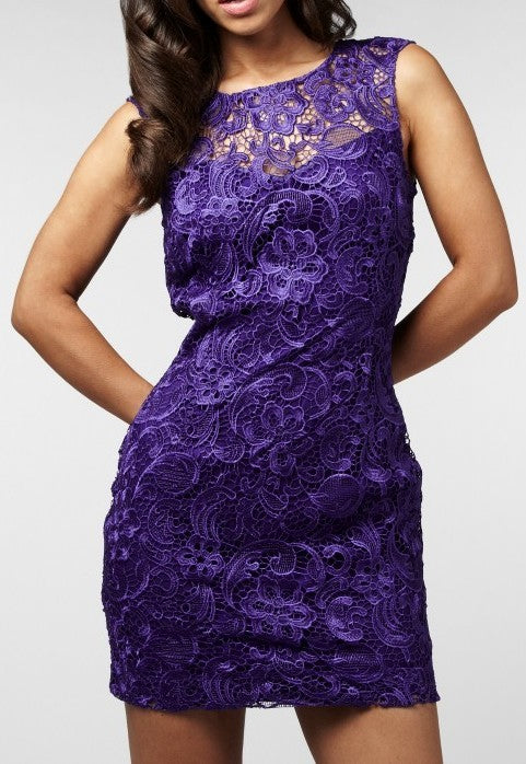 Lipsy Lace Low Back Dress - Ultra Marine - Glitzy Angel