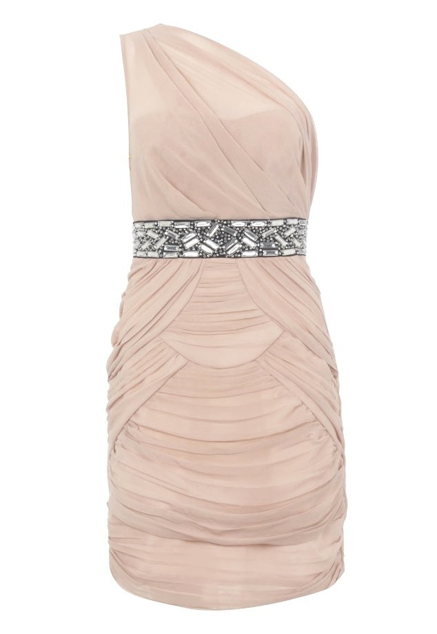 Lipsy One Shoulder Chiffon Beaded Dress - Glitzy Angel