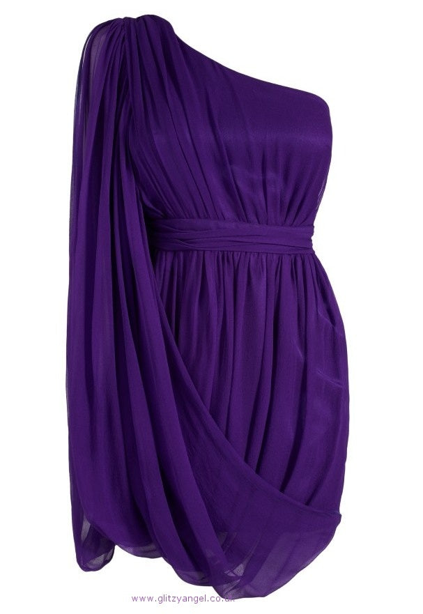 Lipsy One Shoulder Drape Dress - Glitzy Angel