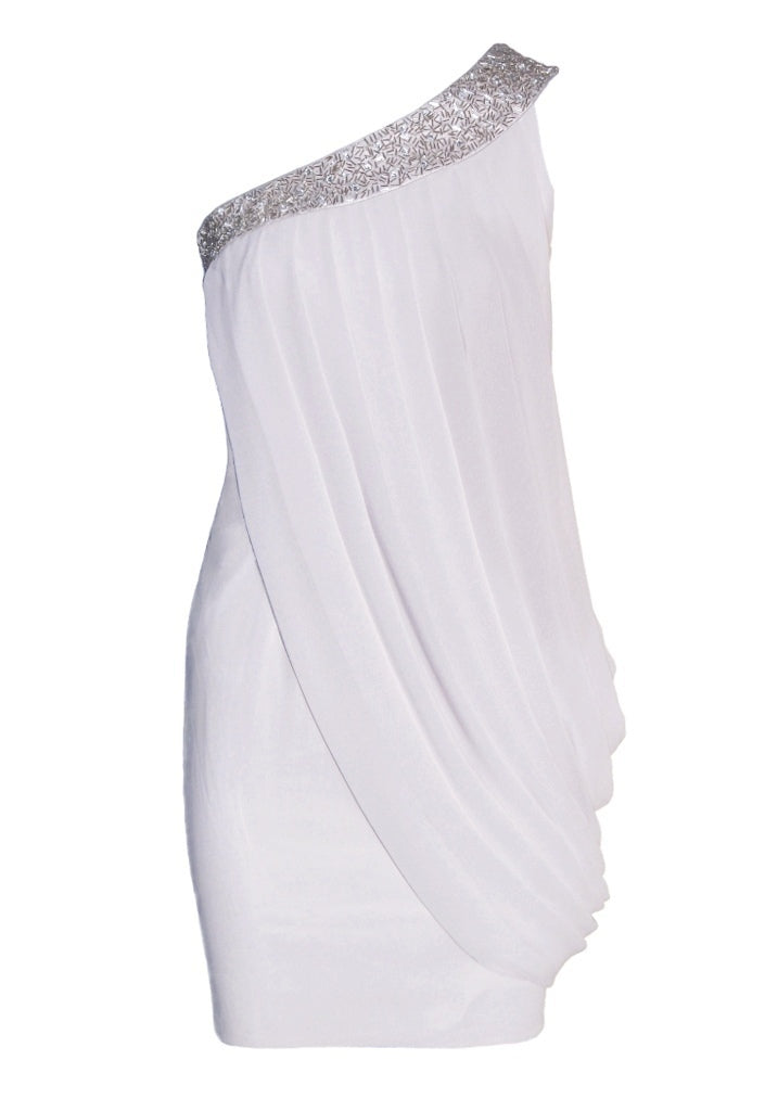 Lipsy One Shoulder Embellished Drape Dress - Glitzy Angel