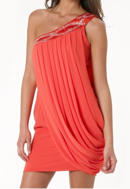 Lipsy One Shoulder Embellished Dress - Glitzy Angel