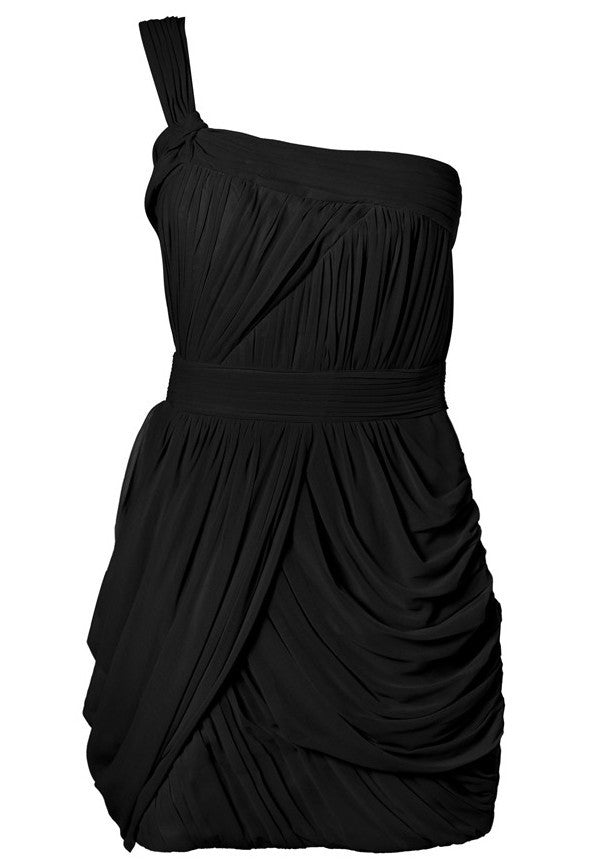 Lipsy One Shoulder Grecian Dress Black - Glitzy Angel