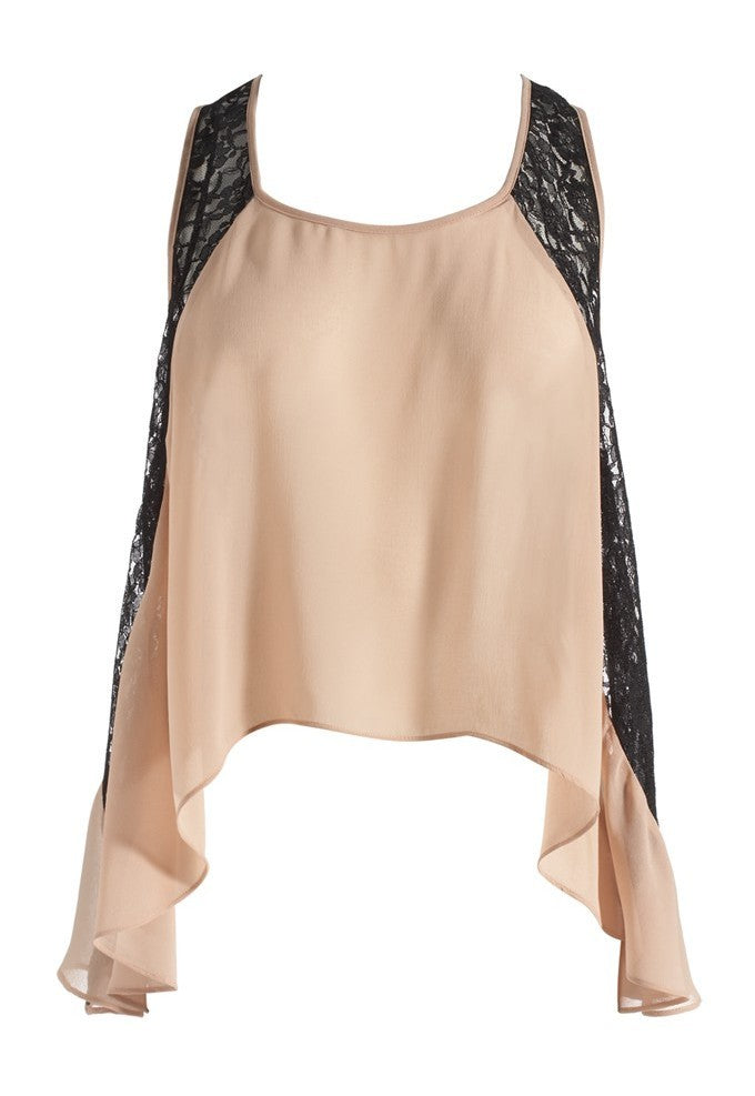Lipsy Lace Panel Drop Hem Vest - Glitzy Angel