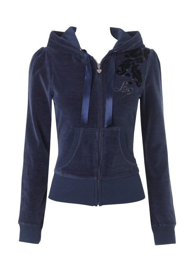 Lipsy Flocked Damask Hoodie - Glitzy Angel
